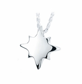 Shining Star Sterling Silver Cremation Jewelry Pendant Necklace