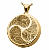 Shinto Tri-Fingerprint Round Solid 14k Gold Memorial Cremation Pendant Necklace