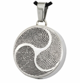 Shinto Tri-Fingerprint Round Stainless Steel Memorial Cremation Pendant Necklace