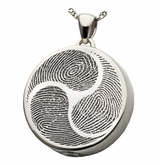 Shinto Tri-Fingerprint Round Sterling Silver Memorial Cremation Pendant Necklace