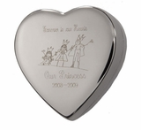 Silver Box Heart with Custom Drawing Keepsake Cremation Urn