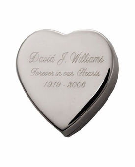 Silver Box Heart with Custom Text Keepsake Cremation Urn