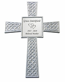Silver Celtic Memorial Steel Cross with Engraved Plate