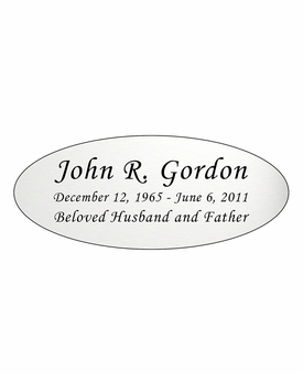 Silver Engraved Nameplate - Oval - 4-1/4  x  1-3/4