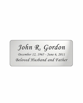 Silver Engraved Nameplate - Rounded Corners - 3-1/2  x  1-7/16
