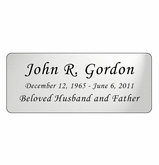 Silver Engraved Nameplate - Rounded Corners - 4-1/4  x  1-3/4