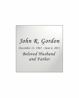 Silver Engraved Nameplate - Square - 1-7/8  x  1-7/8