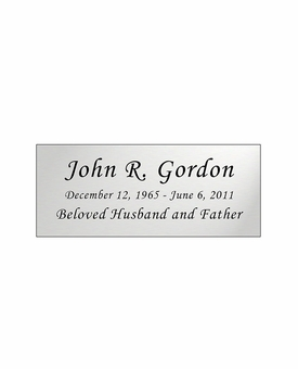 Silver Engraved Nameplate - Square Corners - 3-1/2  x  1-7/16