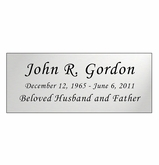 Silver Engraved Nameplate - Square Corners - 4-1/4  x  1-3/4