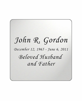 Silver Engraved Nameplate - Square with Rounded Corners - 2-3/4  x  2-3/4