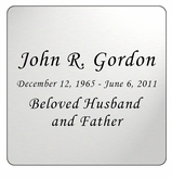 Silver Engraved Nameplate - Square with Rounded Corners - 3-1/2  x  3-1/2