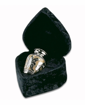 Silver & Gold Classic Brass Keepsake Cremation Urn with Heart Box