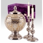 Silver Gold Memorial Set with Brass Cremation Urn and Candlesticks