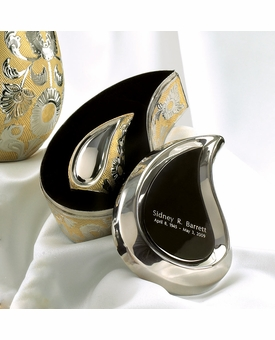 Silver Gold Tear Drop Ultra Keepsake Cremation Urn Set