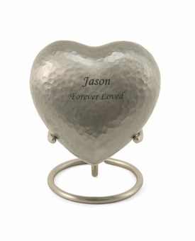 Silver Legacy Metallics Heart Keepsake Cremation Urn