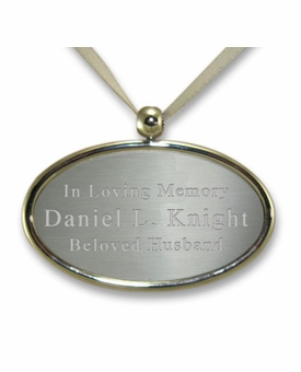 Silver Oval Cremation Urn Pendant - Engravable