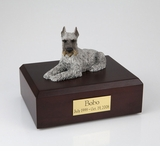 Silver Schnauzer Dog Figurine Pet Cremation Urn - 198