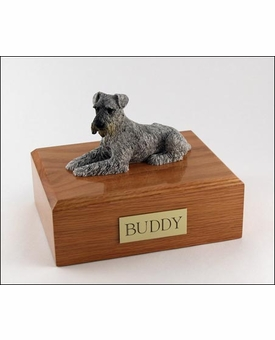 Silver Schnauzer Dog Figurine Pet Cremation Urn - 202