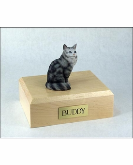Silver Tabby Maine Coon Cat Figurine Pet Cremation Urn - 596