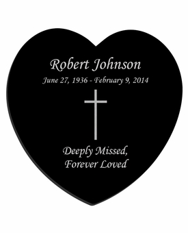 Simple Cross Laser-Engraved Heart Plaque Black Granite Memorial