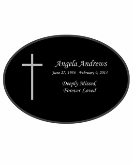 Simple Cross Laser-Engraved Oval Plaque Black Granite Memorial