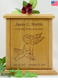 Sitting Cherub Engraved Wood Cremation Urn