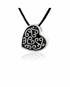 Slider Heart with Design Stainless Steel Cremation Jewelry Pendant Necklace