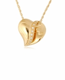 Slider Heart with Stones Gold Vermeil Cremation Jewelry Necklace