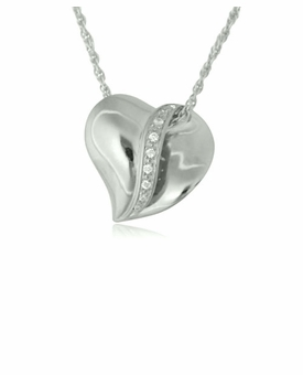 Slider Heart with Stones Sterling Cremation Jewelry Pendant Necklace