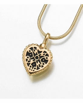 Small 14kt Gold Filigree Heart Cremation Jewelry
