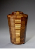 Small Almighty Black Walnut and Zebrawood Wood Cremation Urn