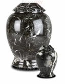 Small Black Modern Marble Cremation Urn