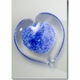 Small Blue Boundless Heart Cremains Encased in Glass Keepsake Cremation Urn