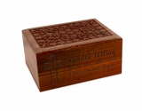 Small Carved Sheesham Wood Cremation Urn