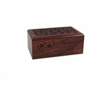Small Carved Sheesham Wood Pet Cremation Urn