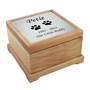 Small Cat Paw Prints Laser  Engraved Nameplate Red Alder Wood Pet Cremation Urn