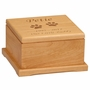 Small Cat Paw Prints Laser  Engraved Red Alder Wood Pet Cremation Urn