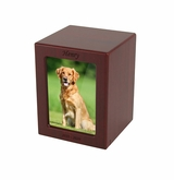 Small Cherry Finish MDF Wood Photo Pet Cremation Urn