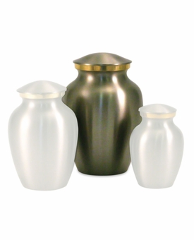 Small Classic Pewter Brass Cremation Urn - Engravable