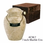 Small Cream Wash Marble Cremation Urn