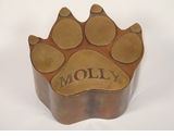 Small Dog Paw Custom Handcrafted Copper Pet Cremation Urn