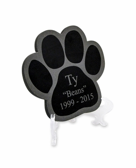 Small Engraved Paw Print Laser-Engraved Plaque Black Granite Memorial