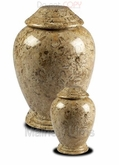 Small Fossil Modern Marble Cremation Urn