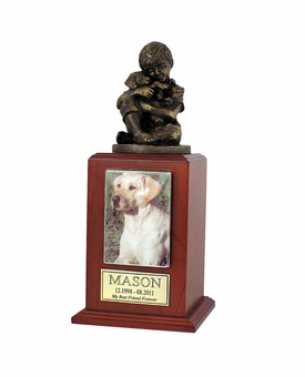 Small Friends Forever Photo Cherry Wood Pet Cremation Urn