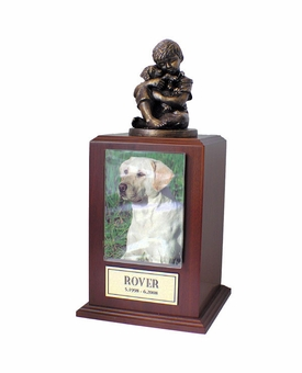 Small Friends Forever Photo Walnut Wood Pet Cremation Urn