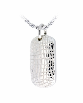 Small Gator Skin Sterling Silver Cremation Jewelry Pendant Necklace