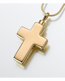 Small Gold Vermeil Cross Cremation Jewelry
