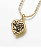 Small Gold Vermeil Filigree Heart Cremation Jewelry