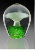 Small Green Enduring Fountain Cremains Encased in Glass Keepsake Cremation Urn