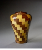 Small Harmony Black Walnut and Yellowheart Wood Cremation Urn